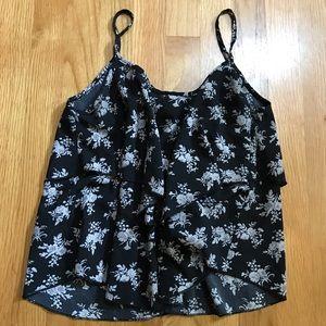 Black floral spaghetti strap flutter tank top